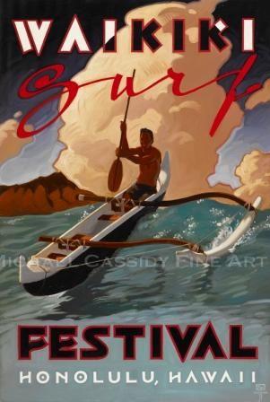 "Waikiki Surf Festival 40""x65"""