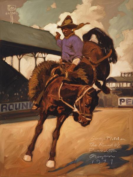 "George Fletcher Pendleton Roundup 24"" X 36"" Price $950"