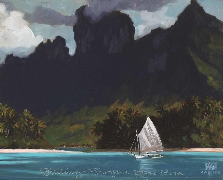 "Sailing Pirogue Bora Bora 20"" X 24"""